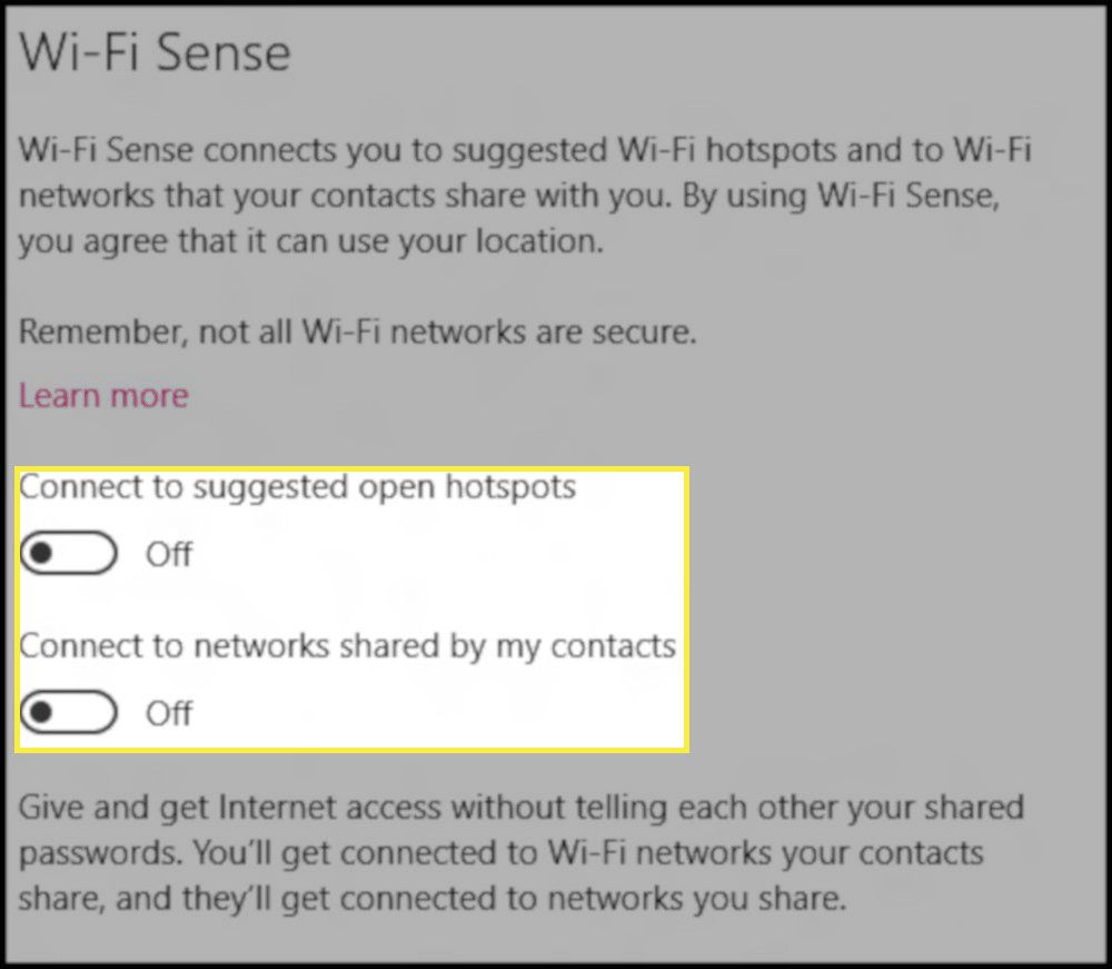 Windows 10 Wi-Fi Sense settings