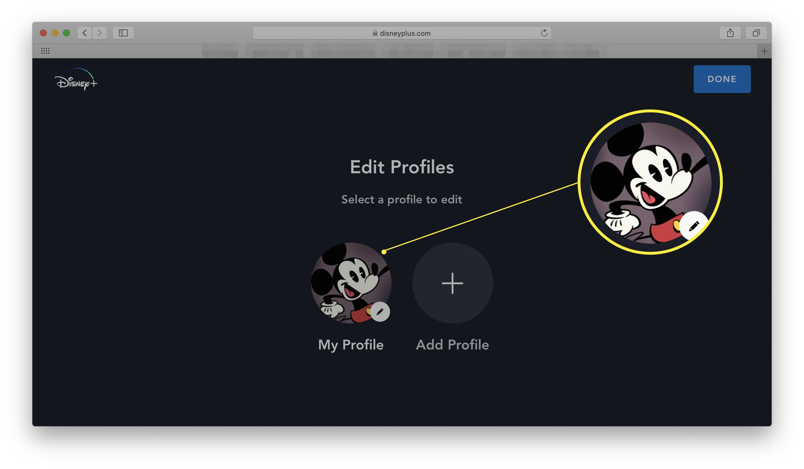 Disney+ via a web browser with My Profile highlighted