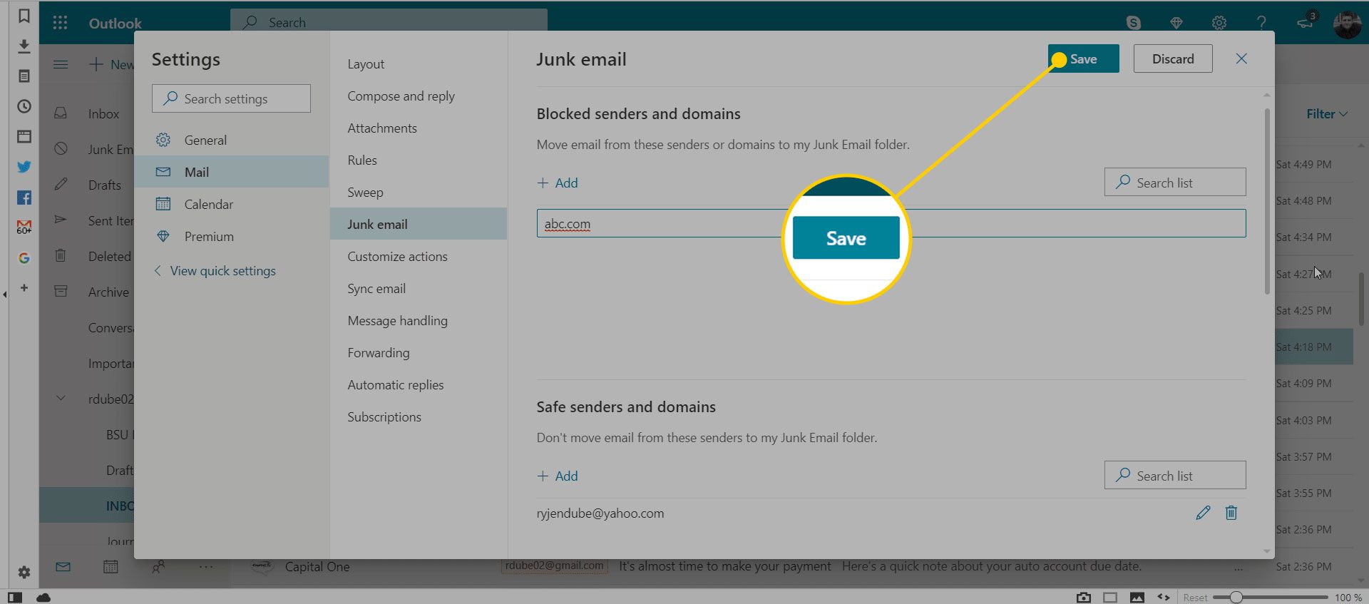 Junk Email settings in Outlook with the Save button highlighted