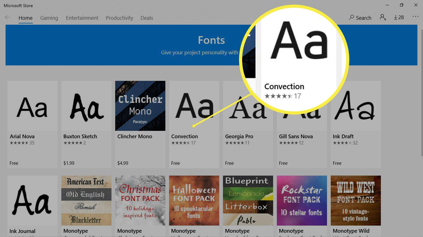 The Convection font highlighted in the Microsoft Store.