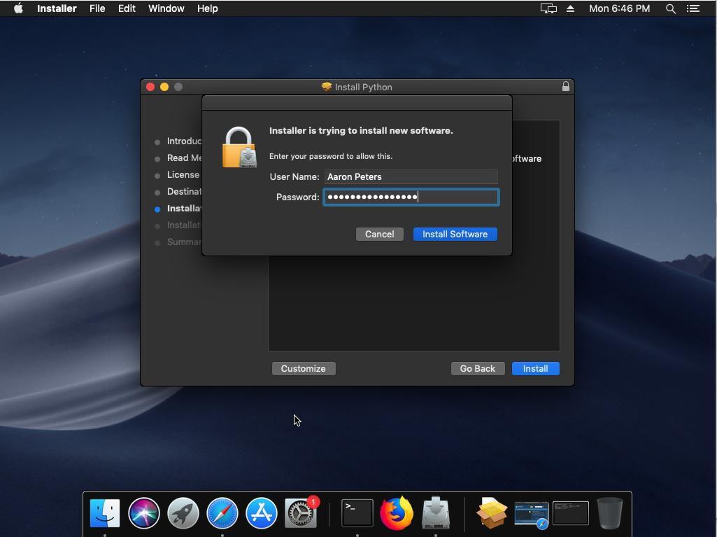 Install Location Screen in the Python macOS Installer