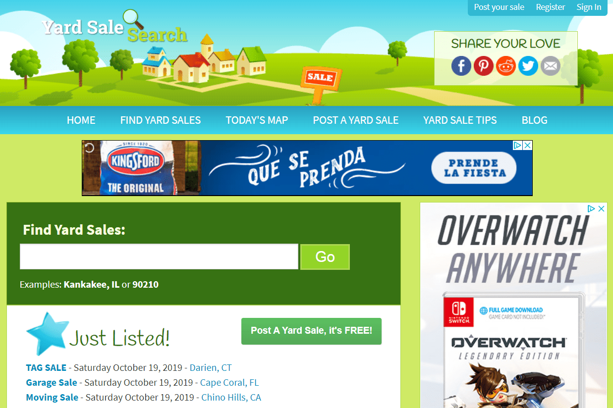 Online garage sale websites