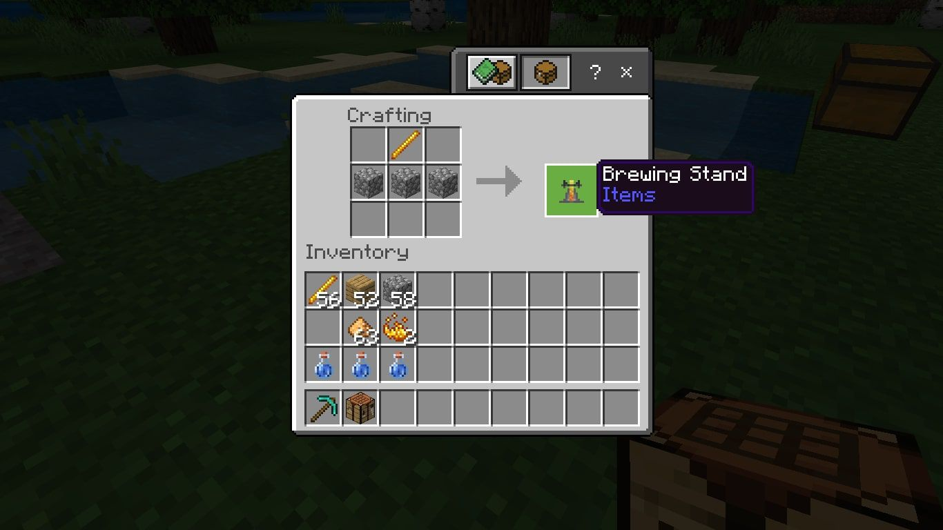 A brewing stand in the Minecraft crafting grid
