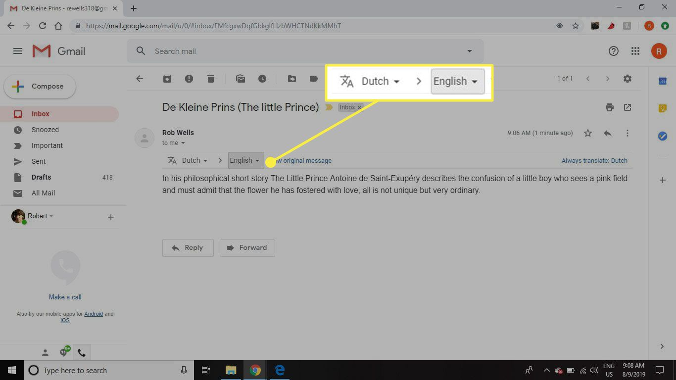 A screenshot of Gmail with the translation box highlighted