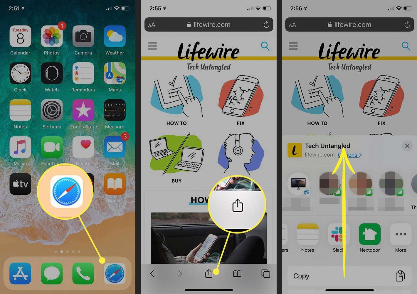 Open the sharing screen in Safari