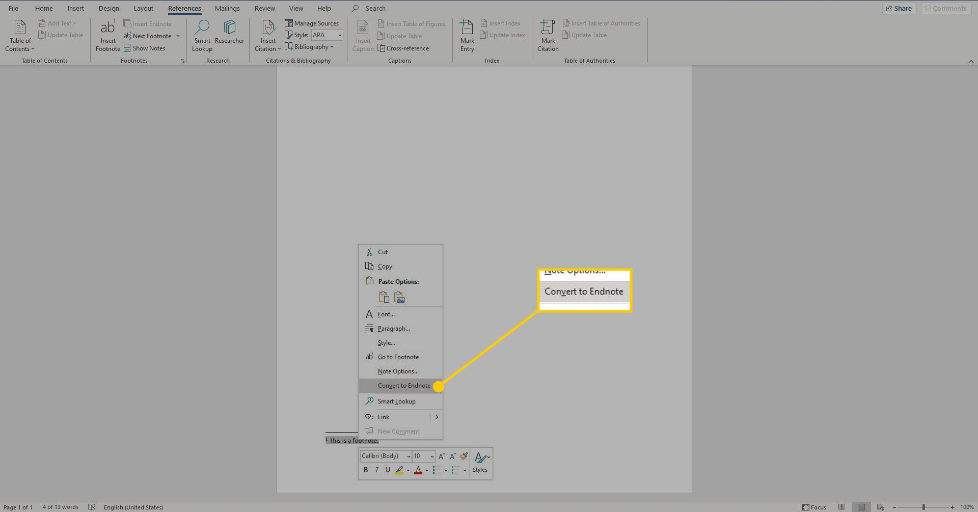 A footnote's option menu in Word with the Convert to Endnote option highlighted