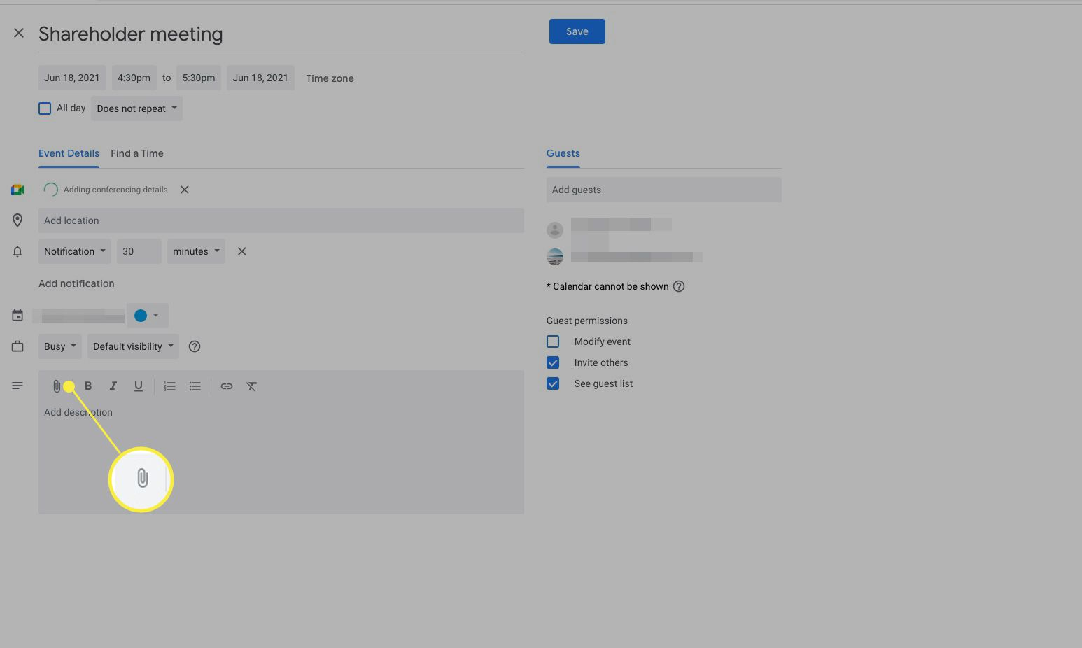 Google Calendar More Options window with file-attach icon (paperclip) highlighted