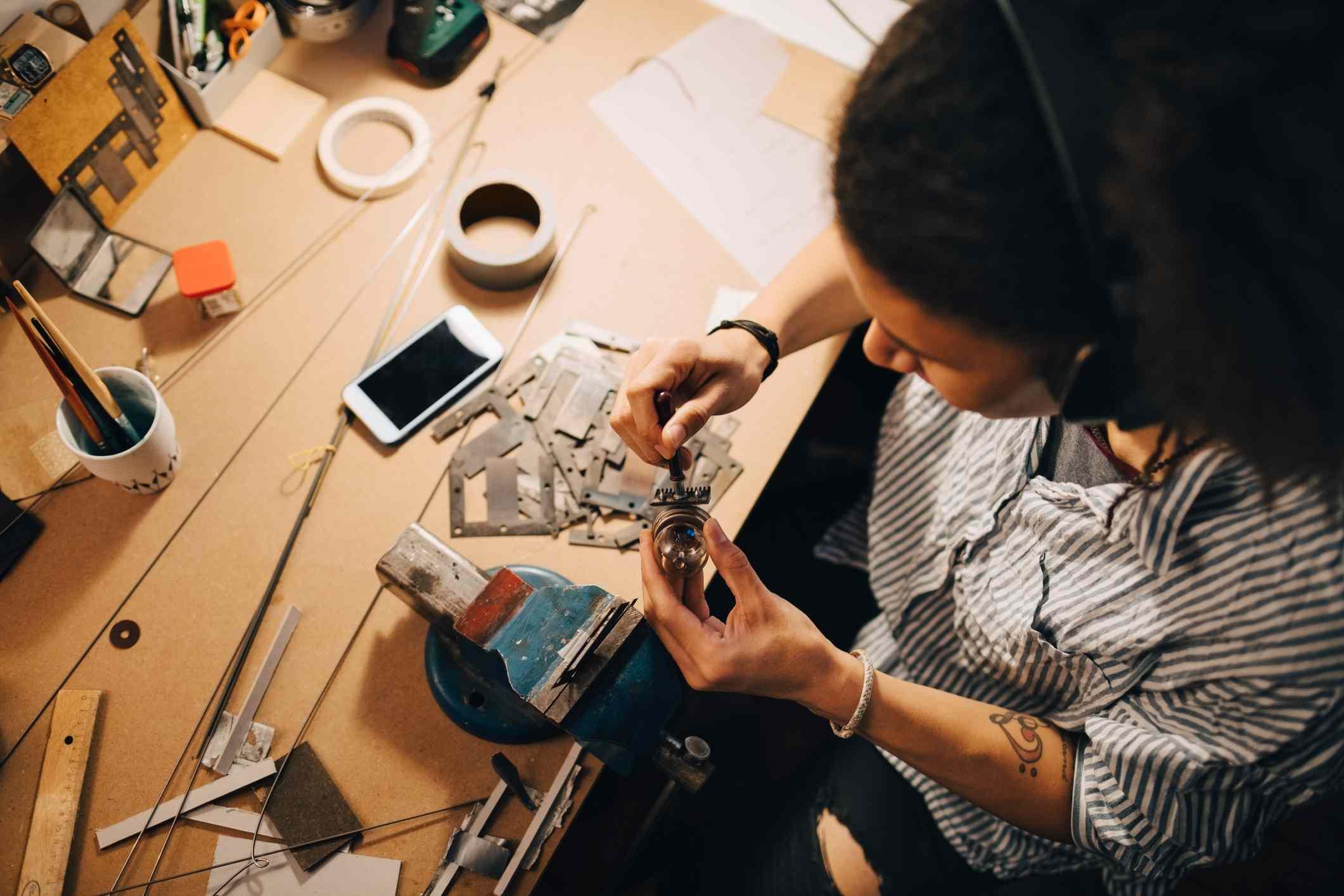 Technician repairing phone