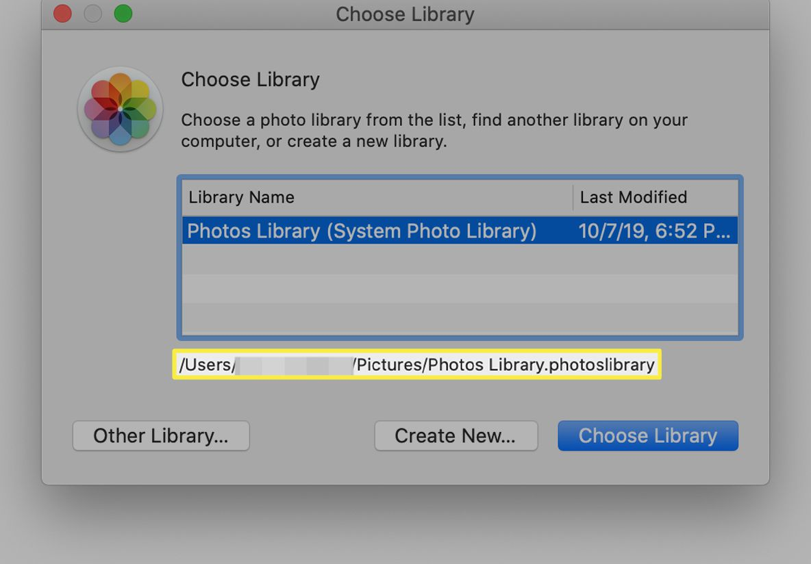 Location of highlighted photo library displayed in Choose Library window