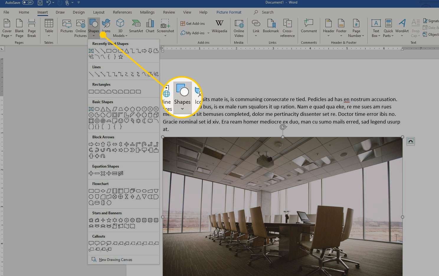 Microsoft Word with the Shapes menu highlighted