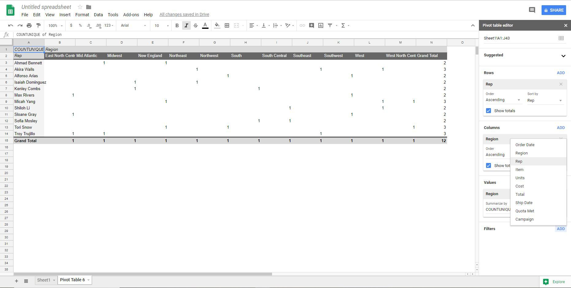 Filter a pivot table in Google Sheets