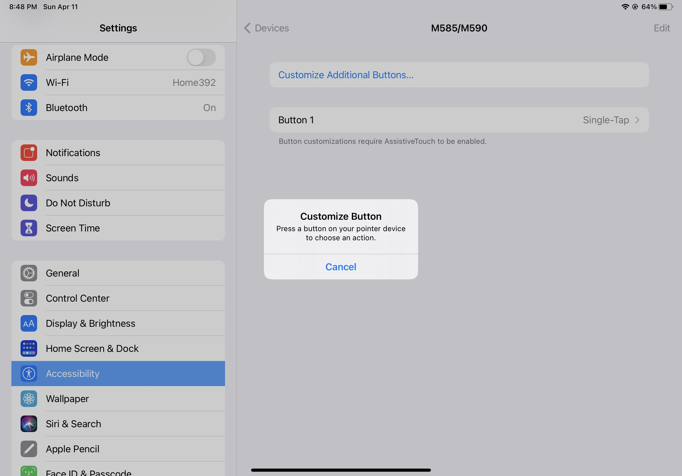 Screenshot of the confirmation pop-up when customizing iPad mouse buttons