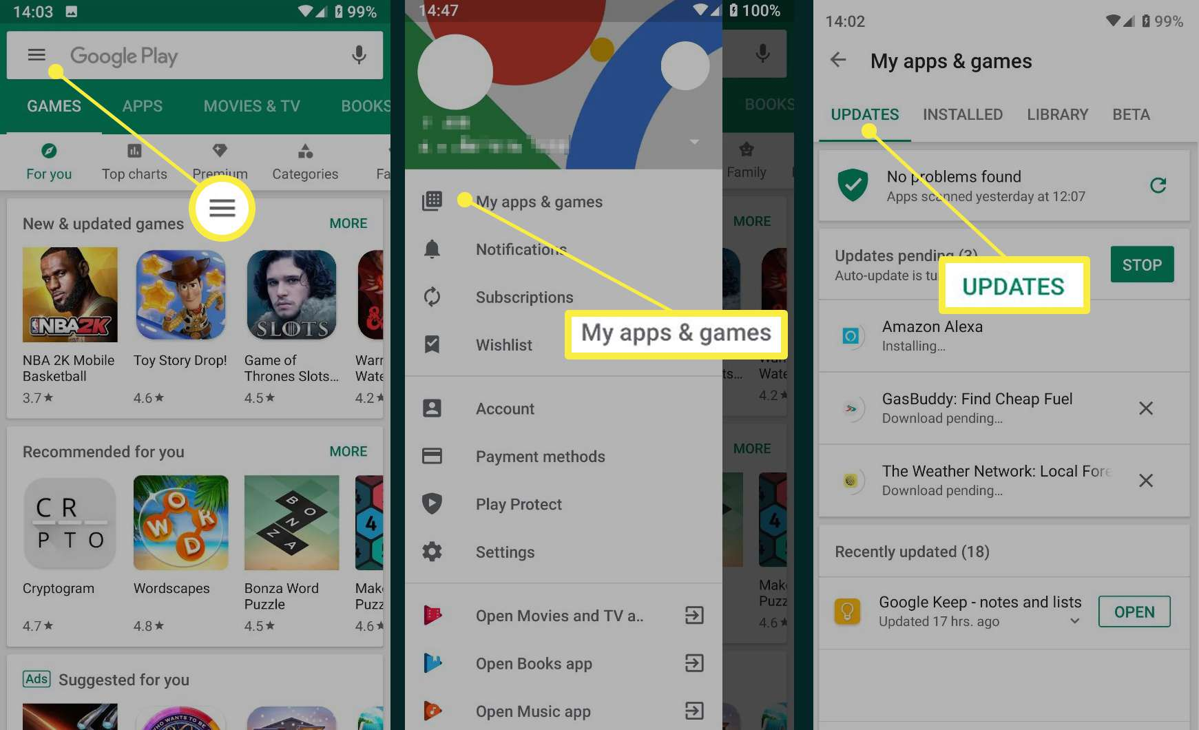 Android Update screens