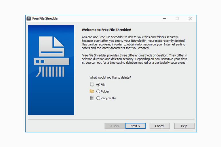 Screenshot of Free File Shredder in Windows 10