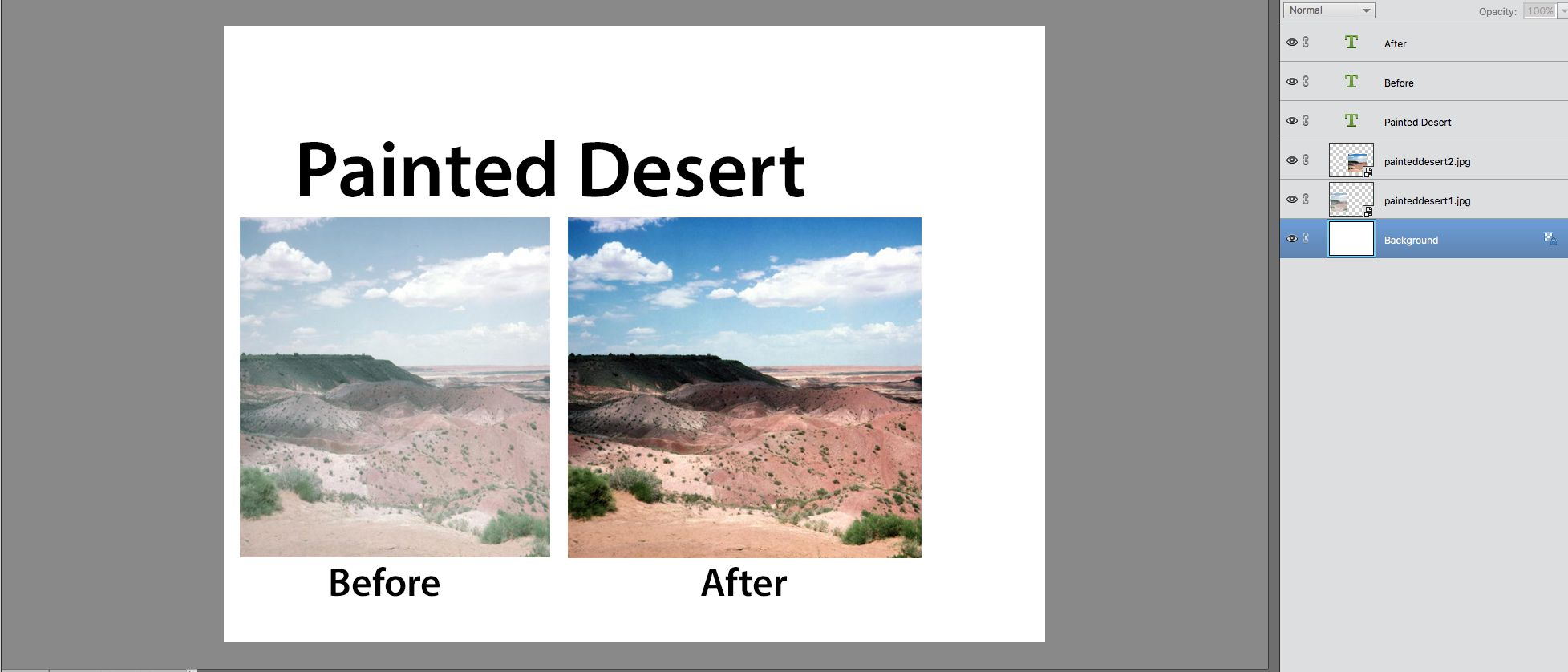 screenshot of Before and After text blocks are placed below the images in elements