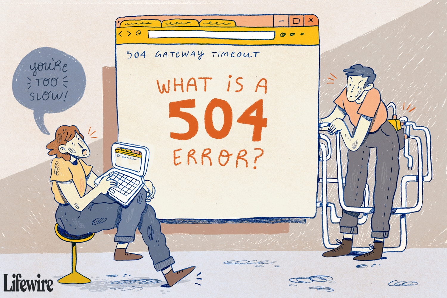 An illustration of a person being slow to serve up a website resulting in a 504 error.