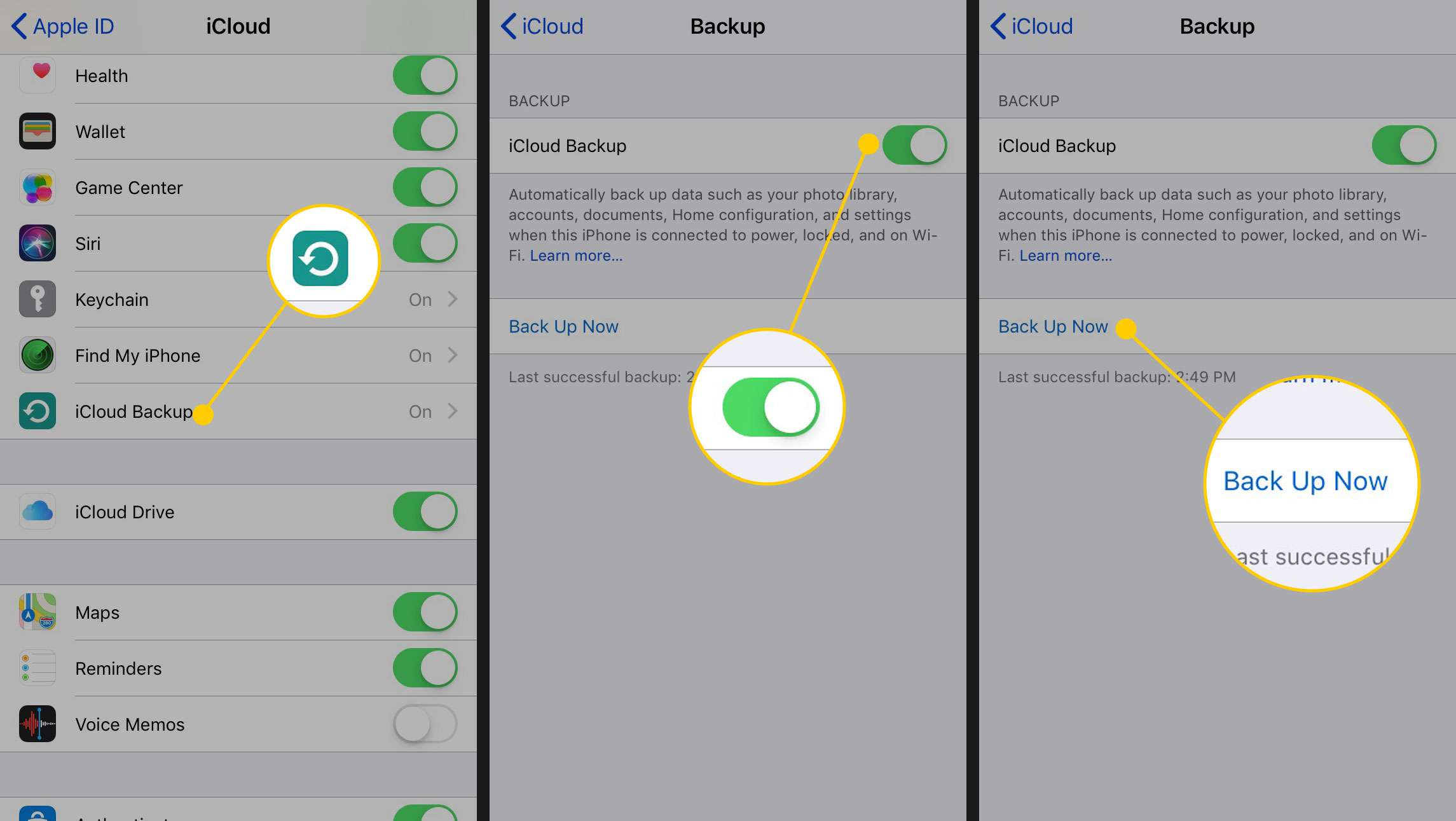 iCloud Settings on an iPhone with the iCloud Backup item and Back Up Now button highlighted