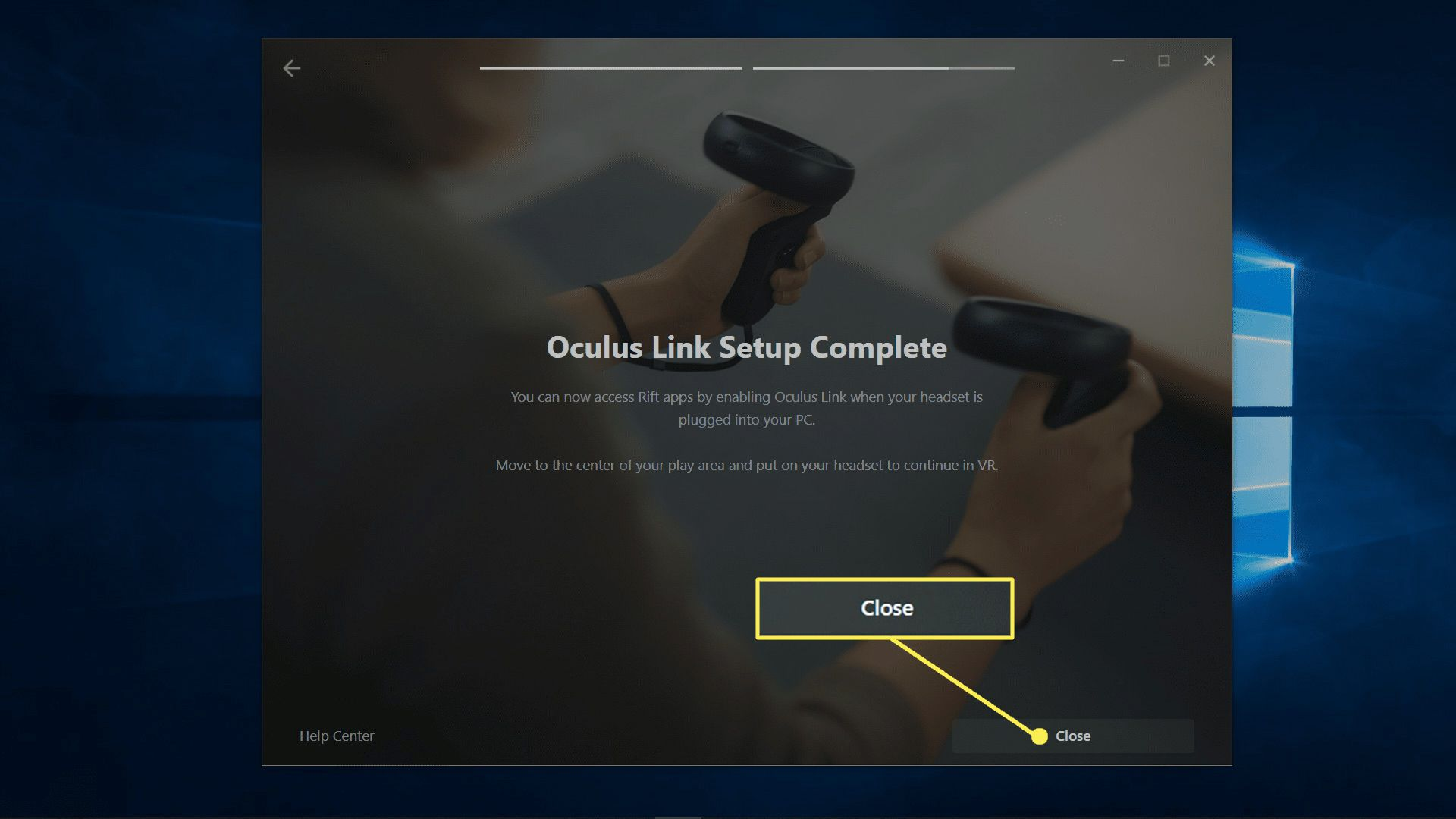Close highlighted on the oculus link setup complete screen.