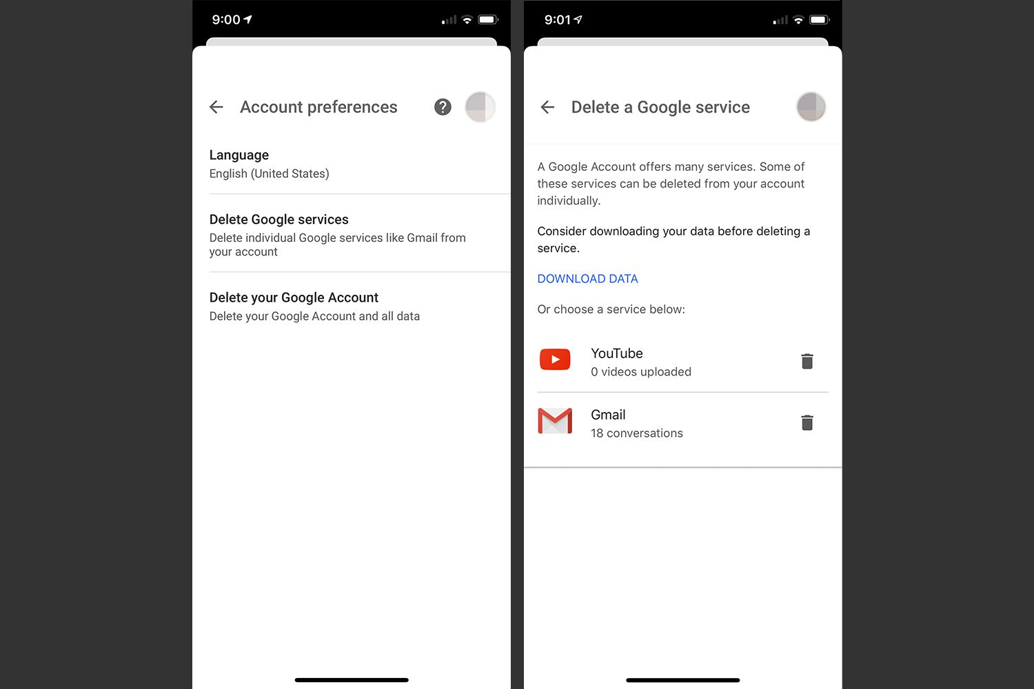 Account preferences and deleting google service screen in Google app