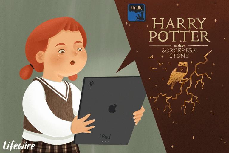 Child listening to Harry Potter on an iPad