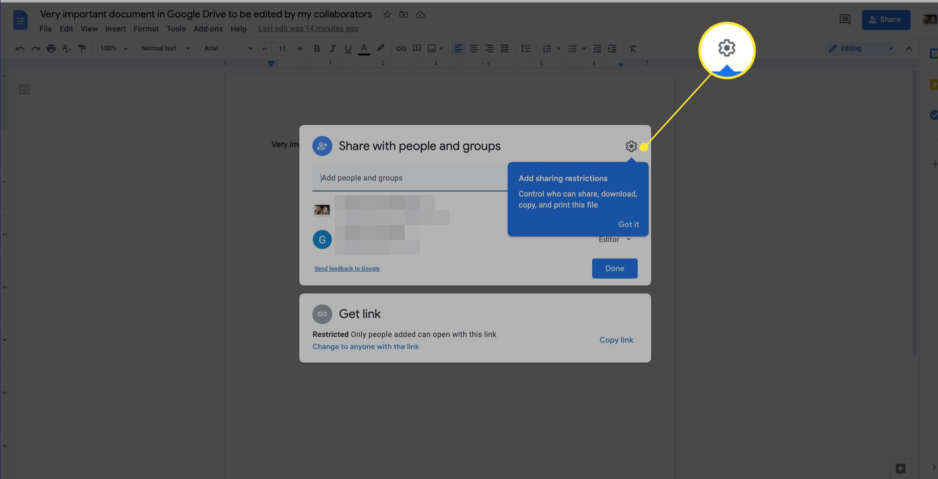 Google Drive sharing restrictions Settings icon highlighted