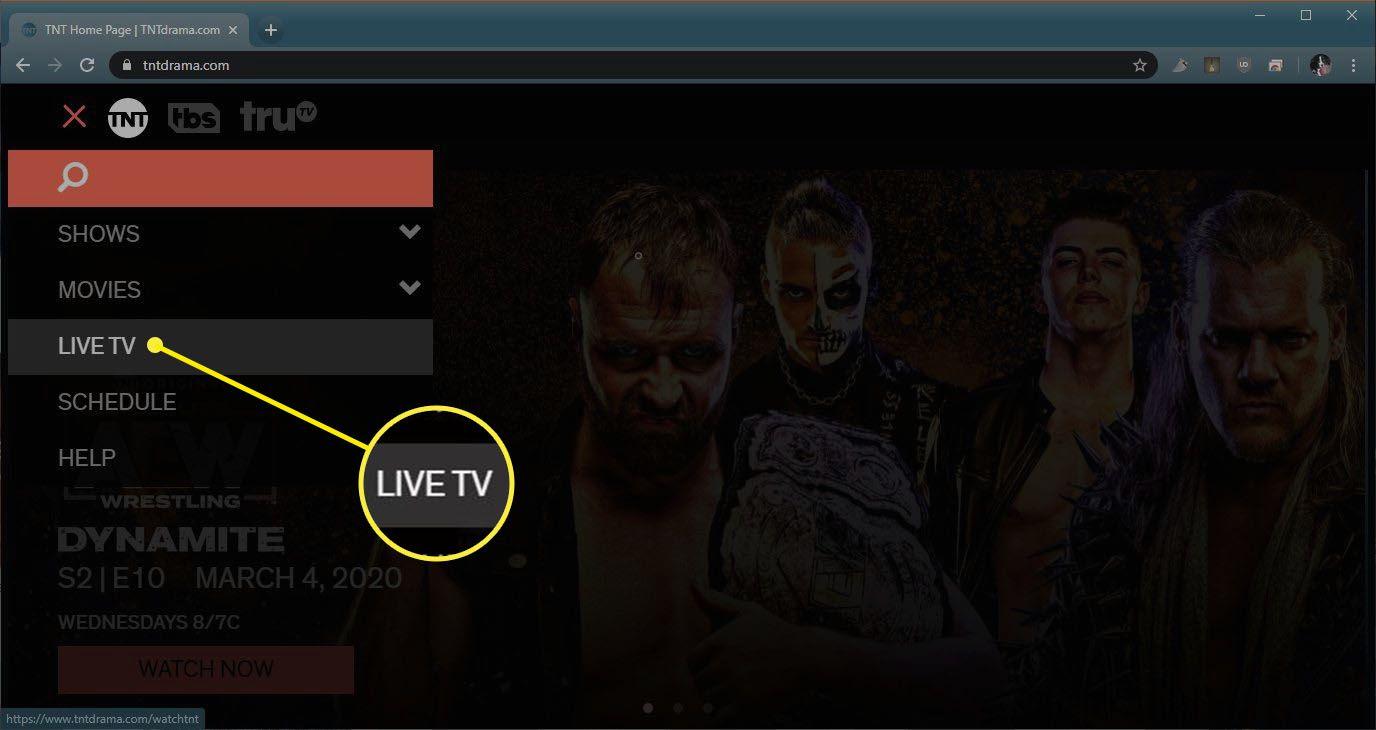 A screenshot of the TNT website menu.