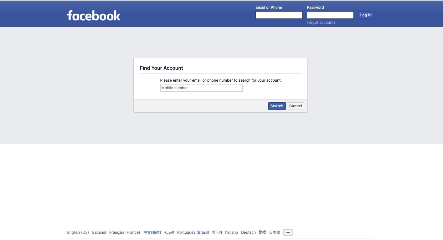 Navigate to Facebook's Find Your Account page.