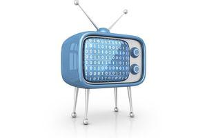 Analog, rabbit ear TV with digital code on it representing digital tv antenna
