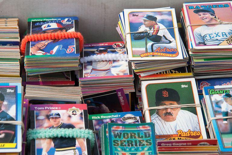 stacks of baseball cards