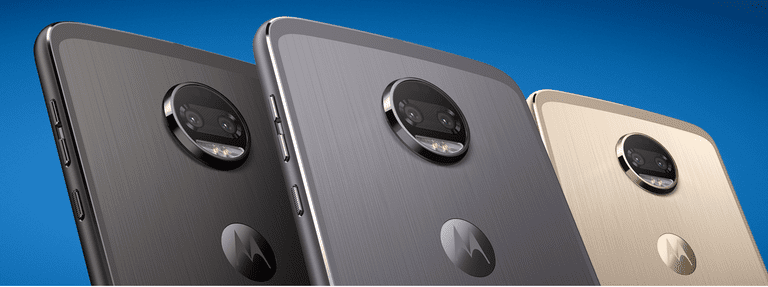 Three Moto Z Phones lined up, rear panel view