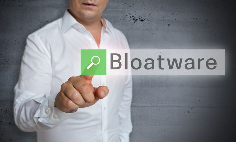 Bloatware on screen in front of man