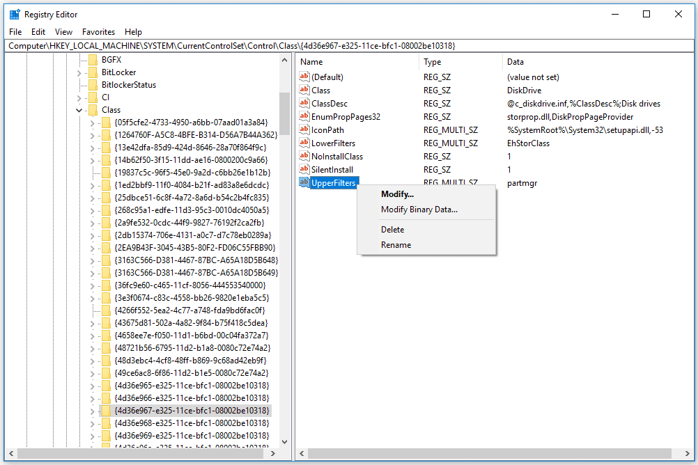 deleting the UpperFilters Registry Value in Windows 10