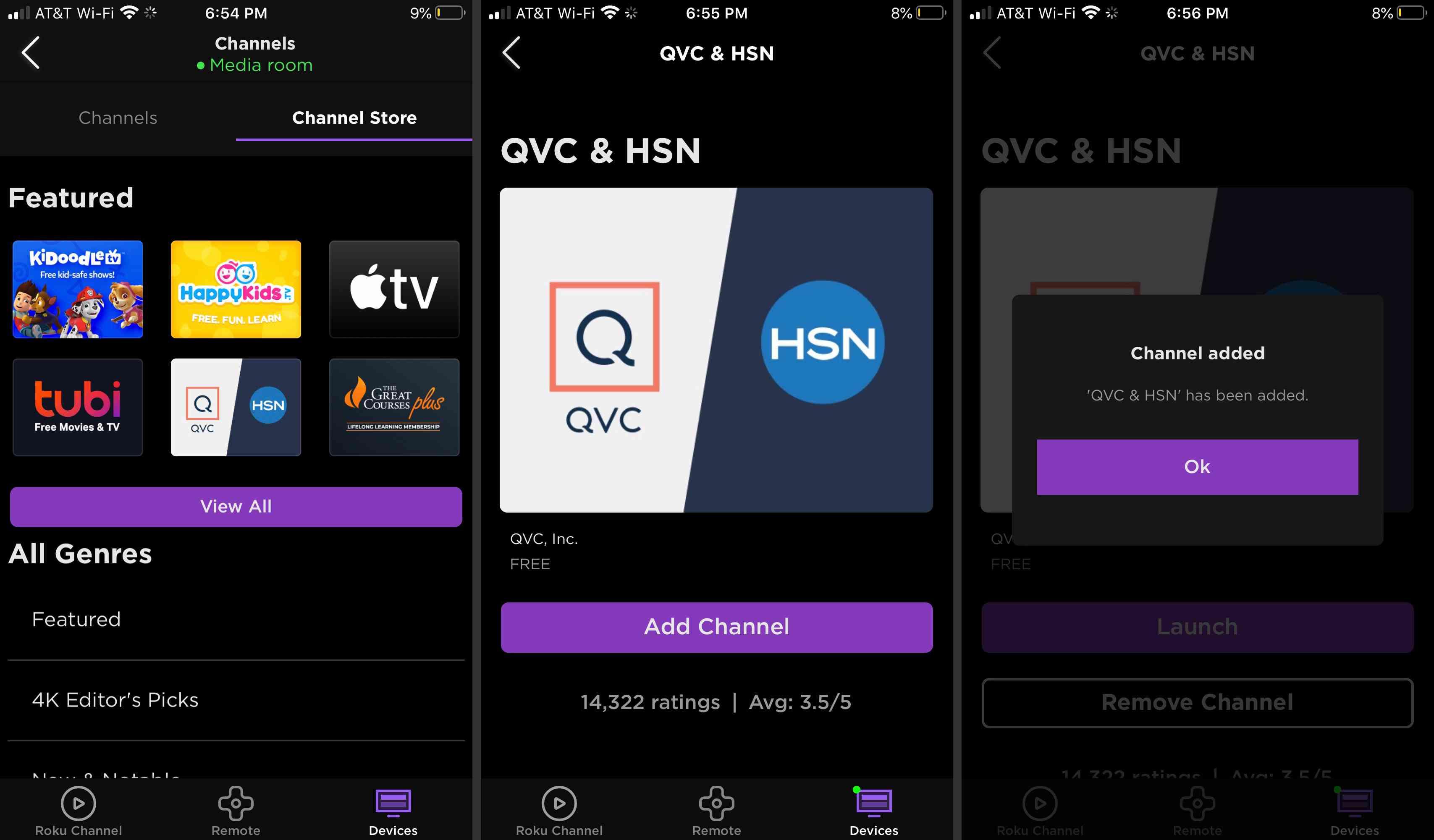 Add a channel to Roku via the Roku mobile app