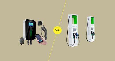 An EV home charging set up vs a public charging EV station photo illustration.