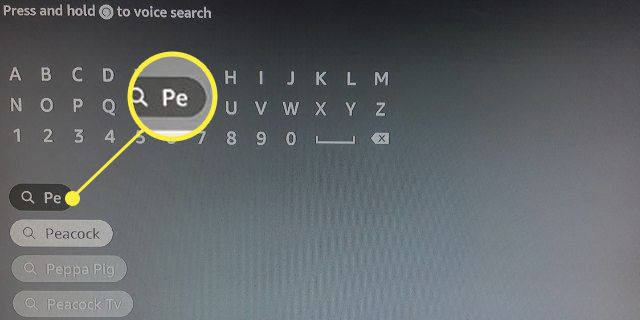 Fire Stick search function highlighting typing