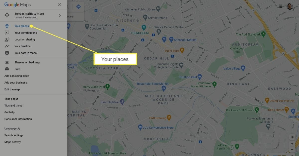 Your Places in Google Maps menu.