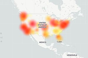 Sample TMobile outage map from DownDetector.