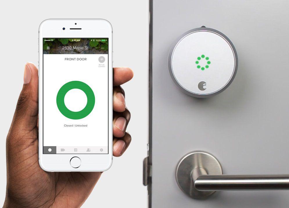 Smart Lock with iPhone App Showing Door Unlocked