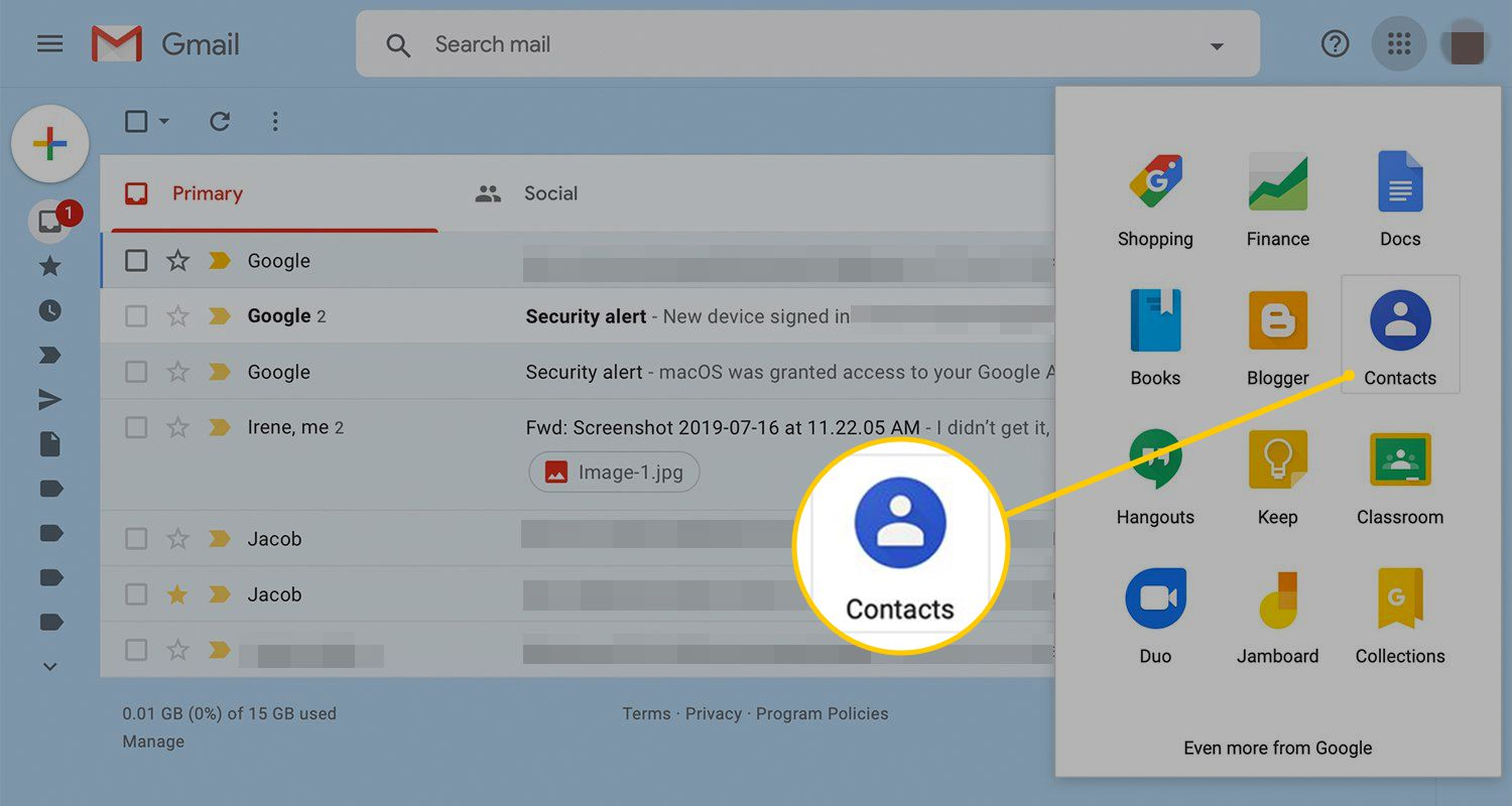 Contacts icon in Gmail