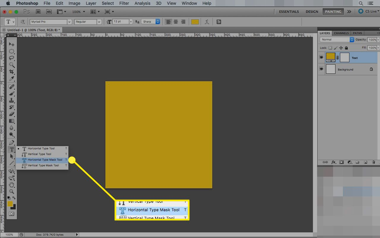 Photoshop on a Mac with the Horizontal Type Mask Tool highlighted