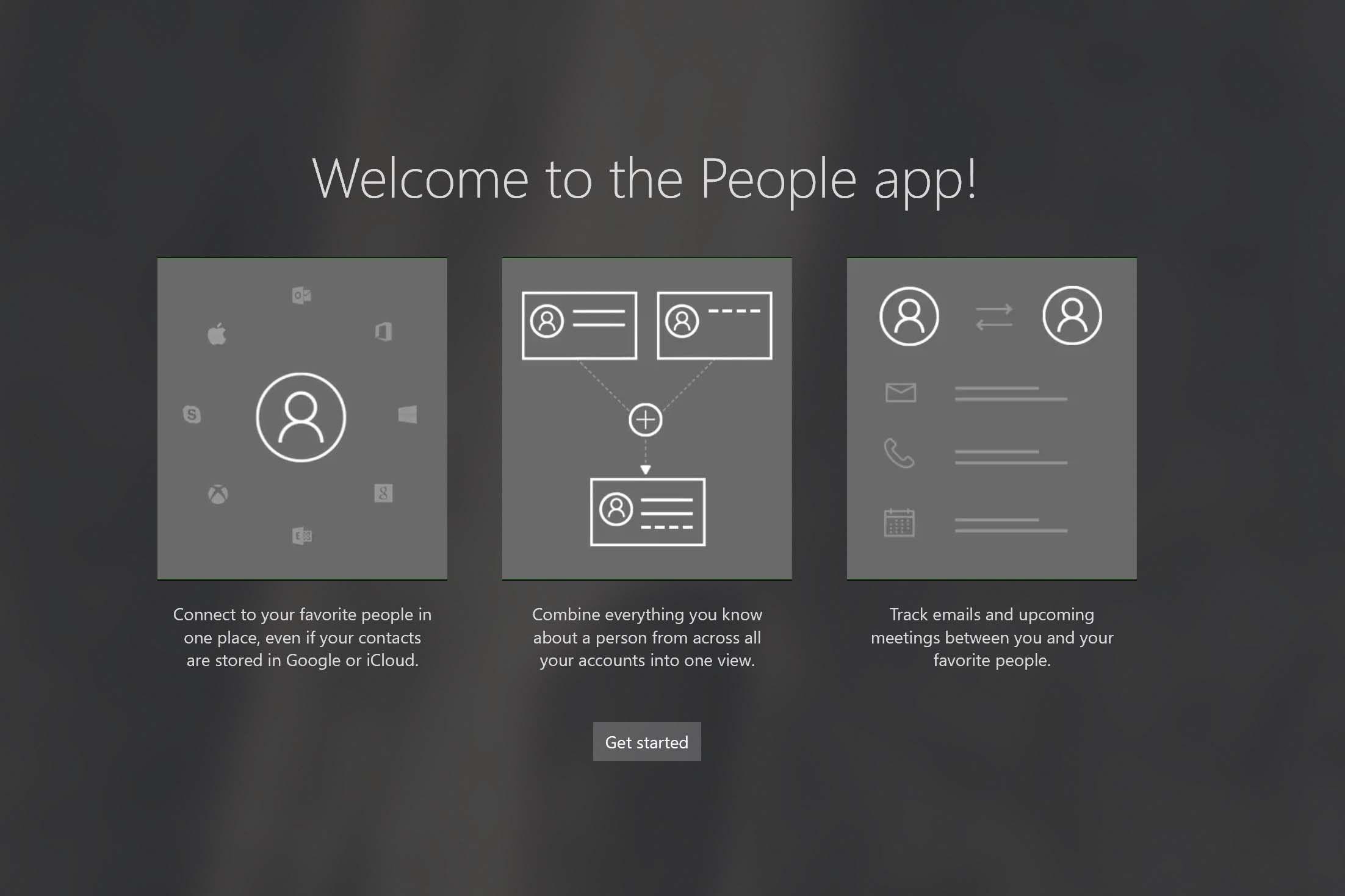 Screenshot of the Windows People App.