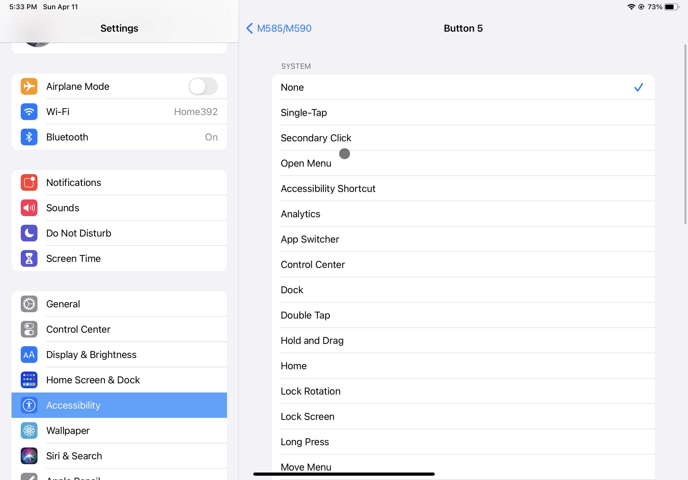Screenshot of the options for mapping actions to iPad mouse buttons