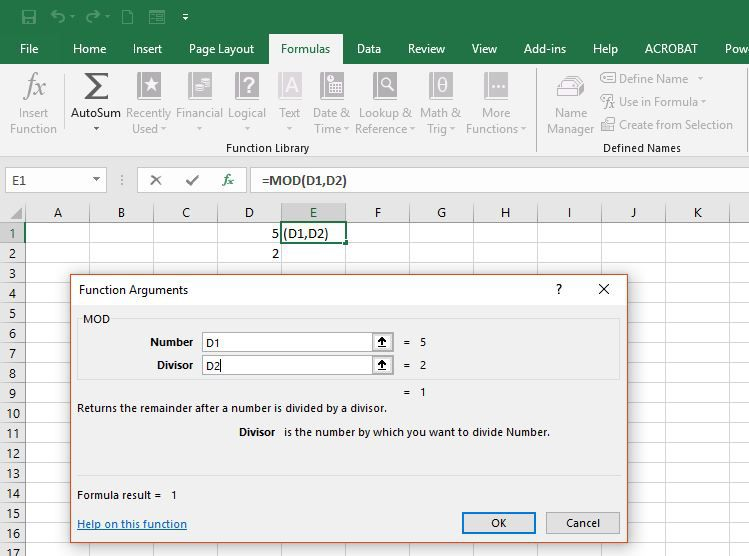 Entering the Divisor in the Excel MOD function.