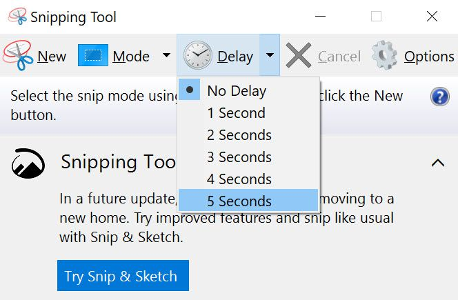 Delay setting in Windows Snipping Tool