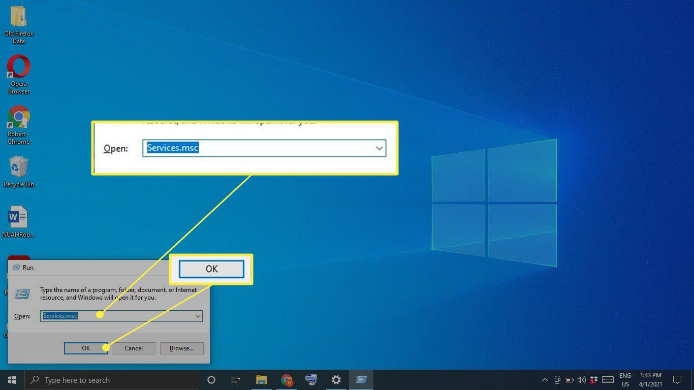 Services.msc in the Windows Run box