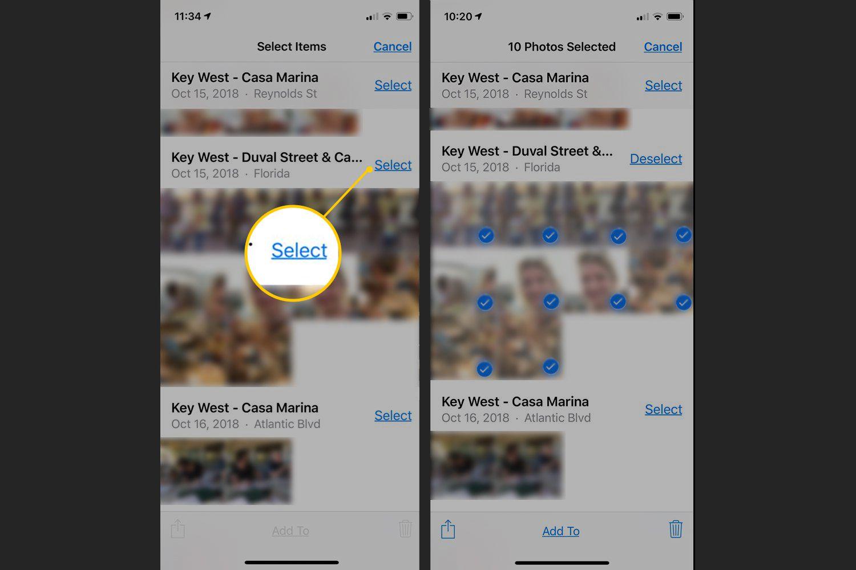 Select button in iOS Photos app