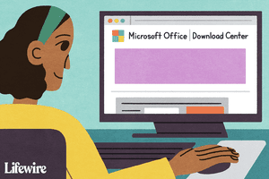 Person using the Microsoft Office Download Center