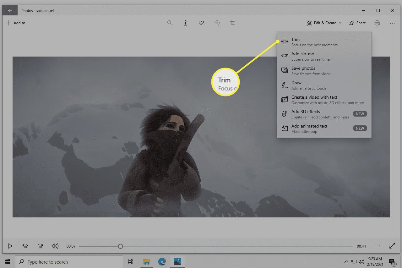 Trim button in the Edit and Create menu of the Windows 10 Photos app