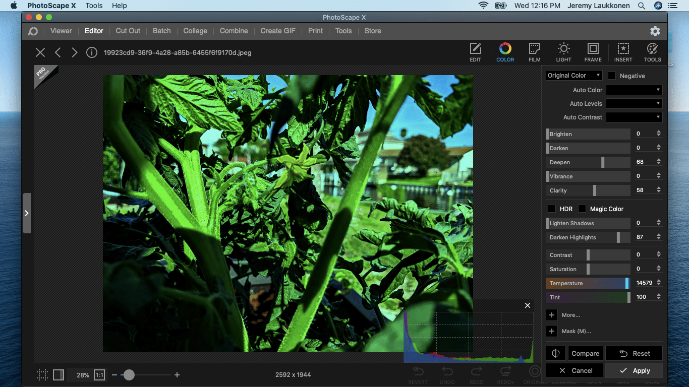 A screenshot of PhotoScape X on macOS.