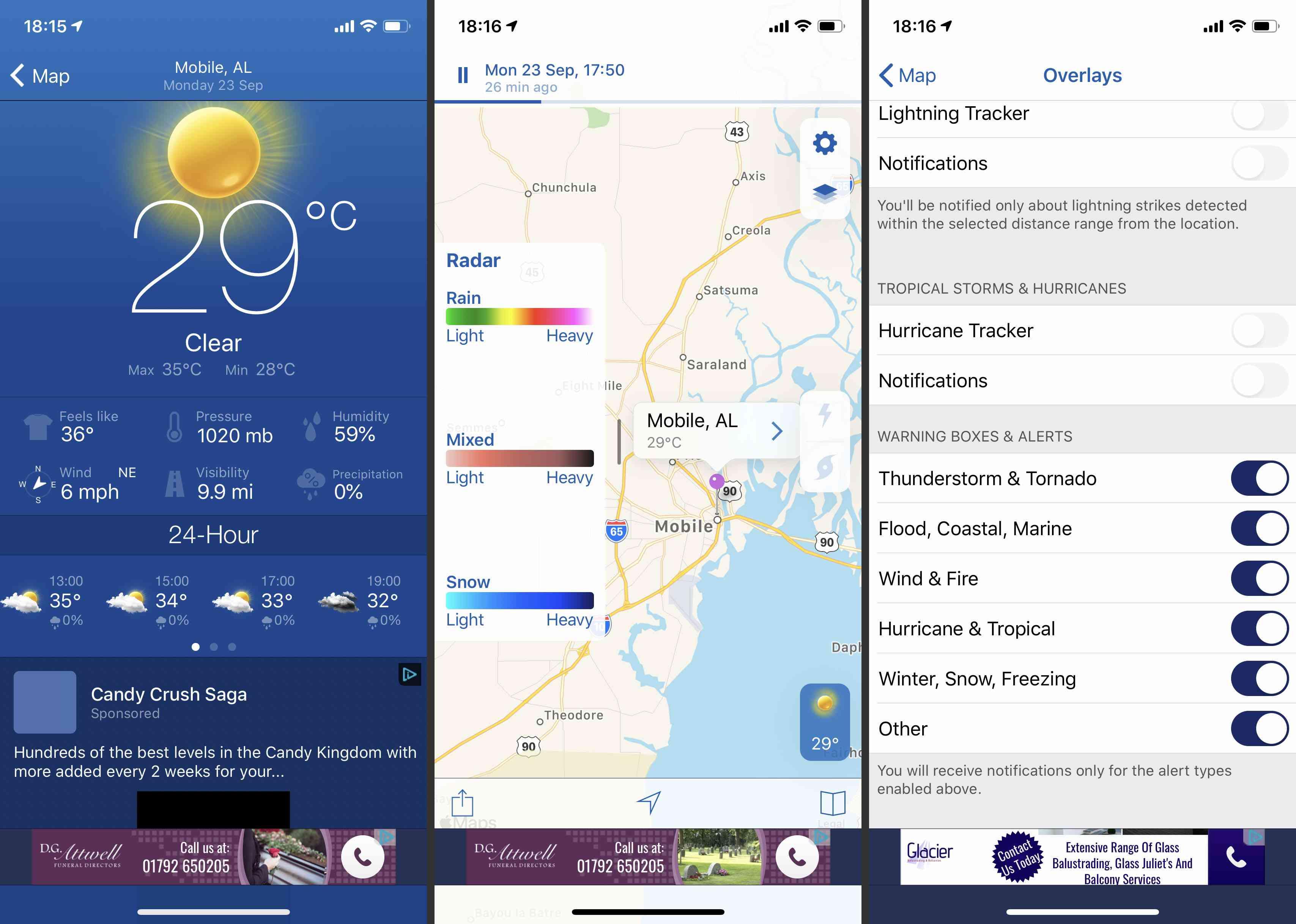 NOAA Weather Radar Live app screenshots